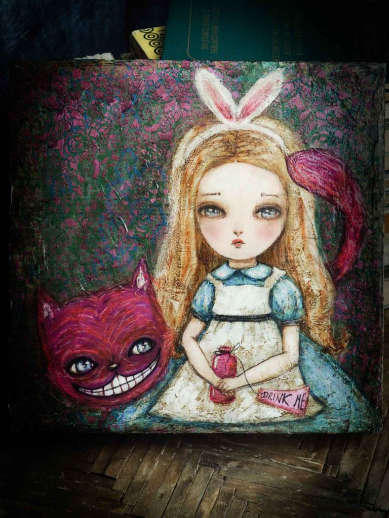 Danita Art Alice in Wonderland Cheshire Cat Mixed Media Acrylic Pastel Painting Surrealist Original