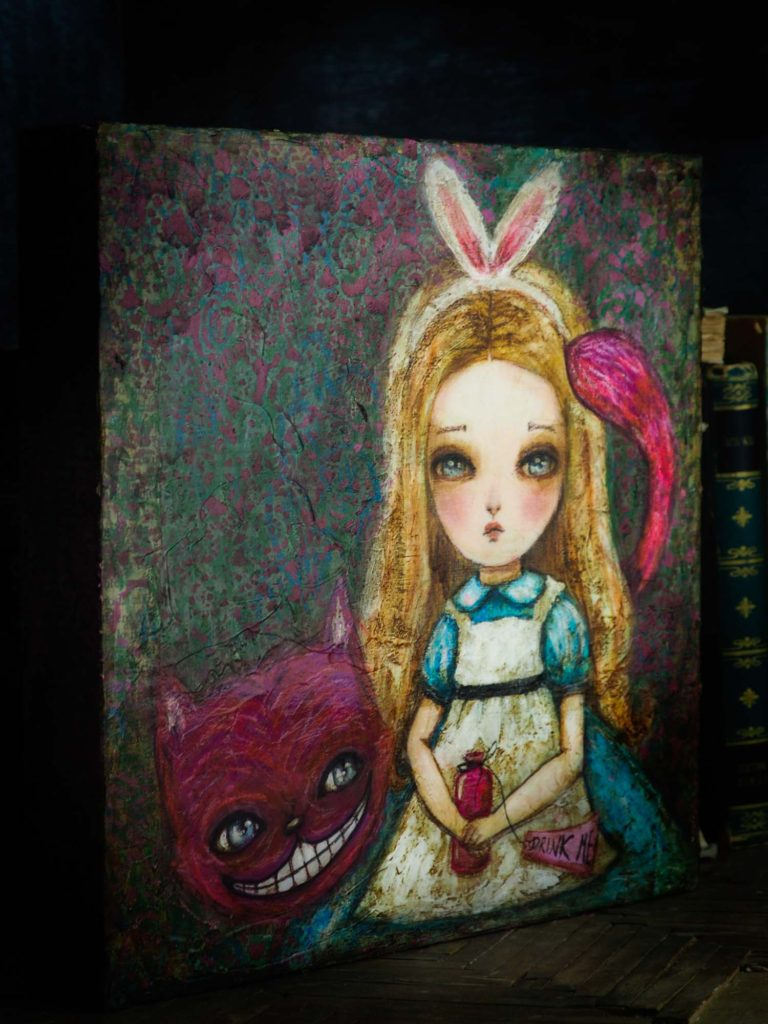 Dark Danita Painting Darknita Alice in Wonderland Cheshire Cat Mixed Media White Rabbit Self portrait
