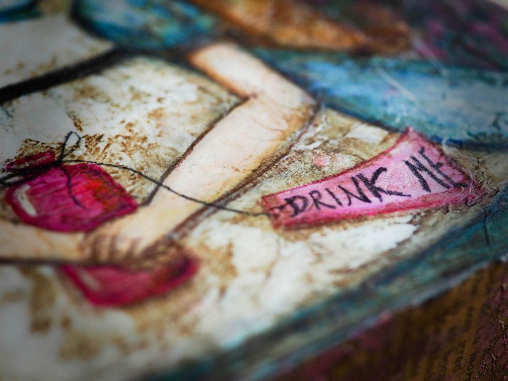 Danita Drink Me bottle Alice in wonderland Painting Mixed Media Surrealist Cheshire Cat White Rabbit