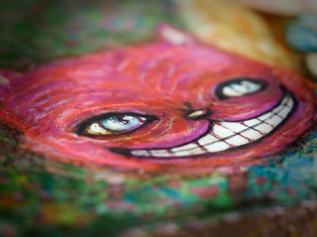 Cheshire Cat Danita painting kitty surrealist Alice in Wonderland Illustration Mixed media