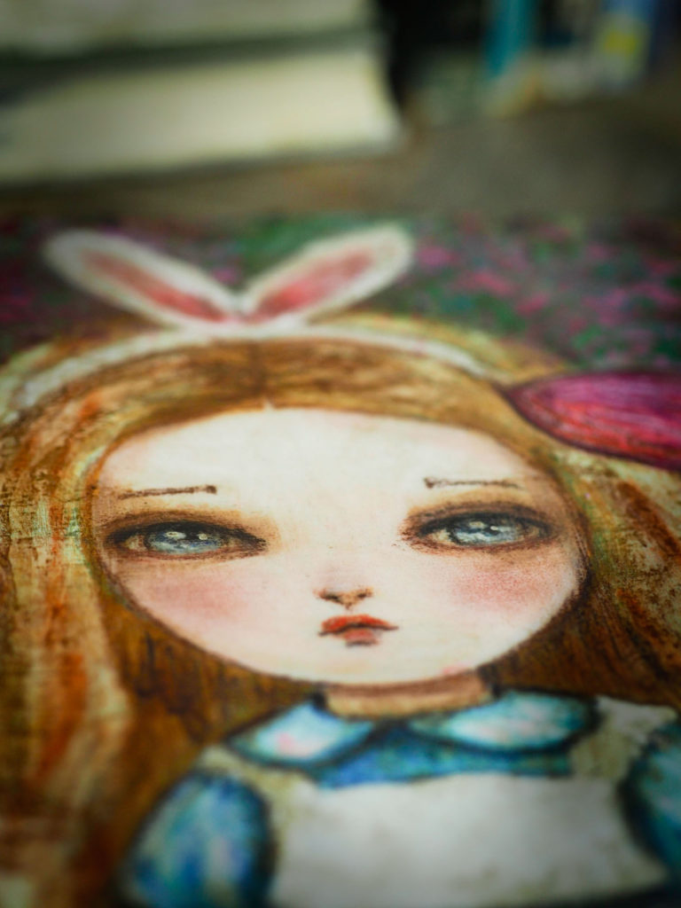 Danita Bunny White Rabbit Alice in wonderland Painting Original Mixed Media