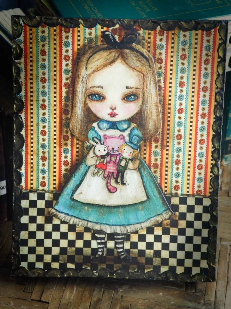 Danita Art Alice wonderland Painting Original Mixed Media collage